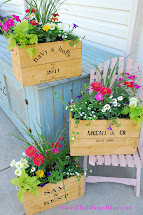 Chalkboard Blue Crate Planter Boxes