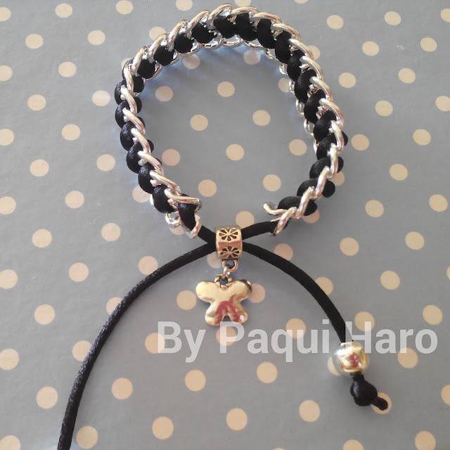 Pulsera de cadena que se puede mojar y cola de ratón negro