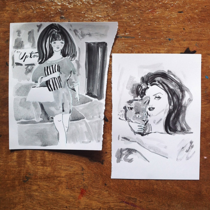 Kitty N. Wong / ink drawings of girls