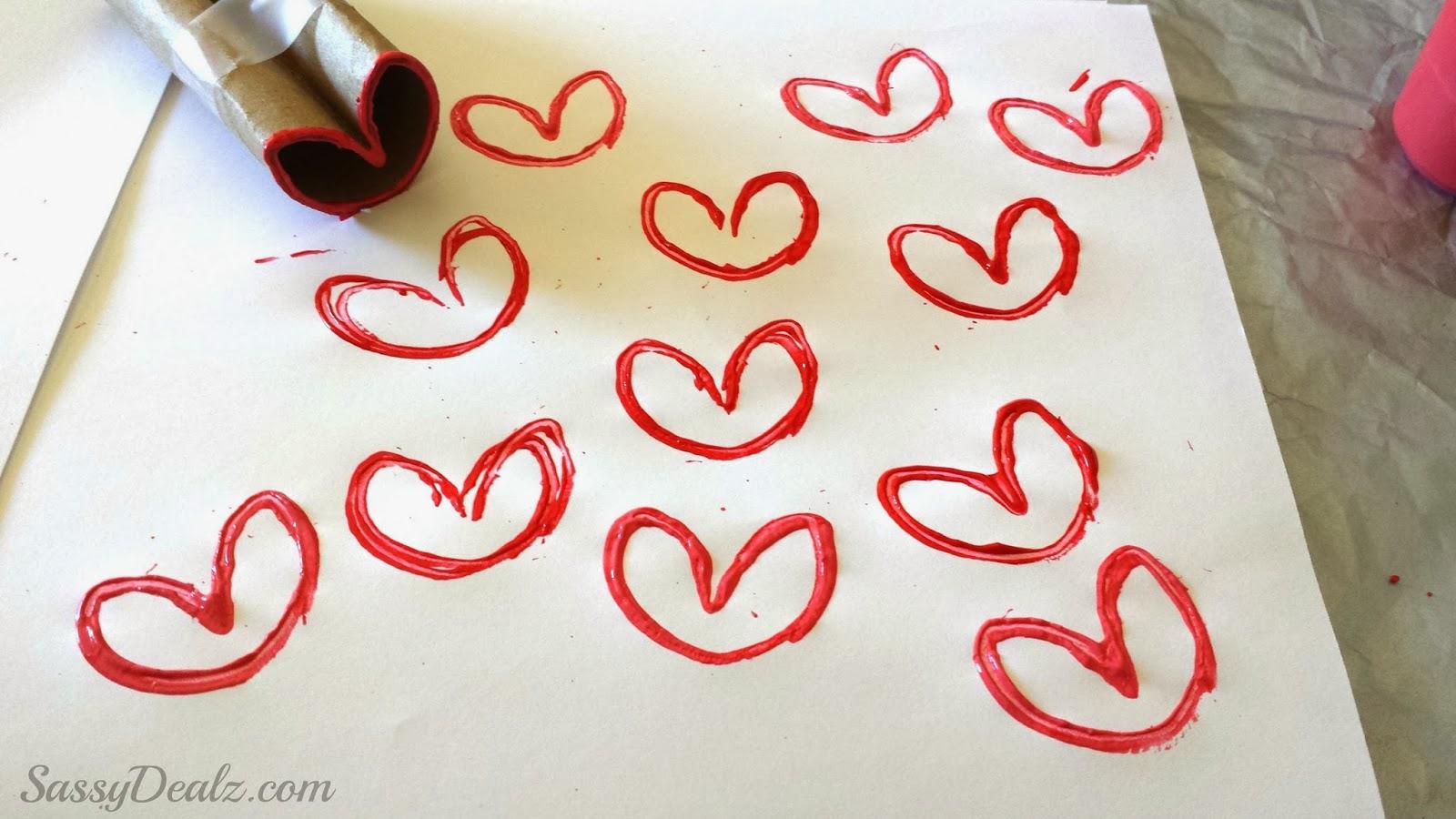DIY Heart Stamp Using Toilet Paper Rolls (Kids Valentines Craft ...