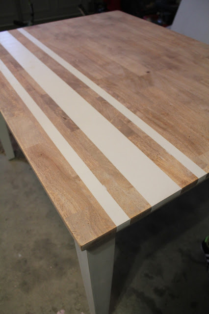 dark walnut stain, chalk painted table, how to glaze over paint with stain, how to paint stripes