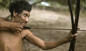 Hunting Tribal person in Amazon river forest