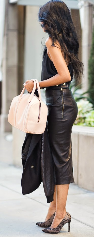 Coach Leather Midi Pencil Skirt with Silk Tank and Sexy Lace Pumps | Chic Street Outfits