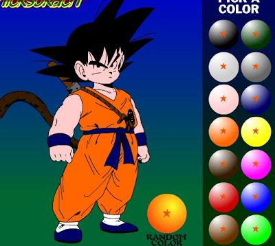Juego para pintar dibujo de Goku  Dragn Ball Kai