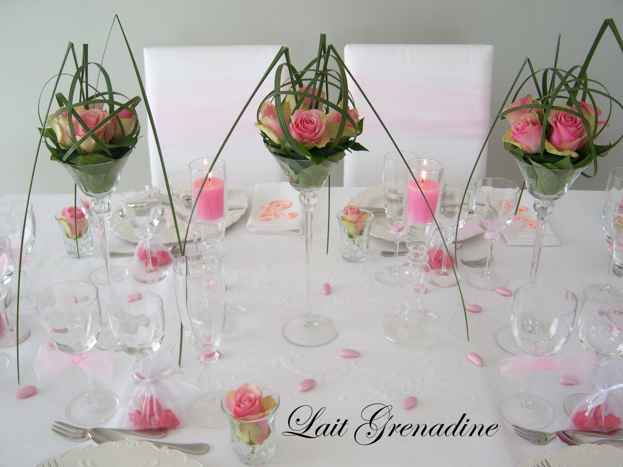 Id et photo d coration mariage centre de table en verre - Idee de decoration de table ...