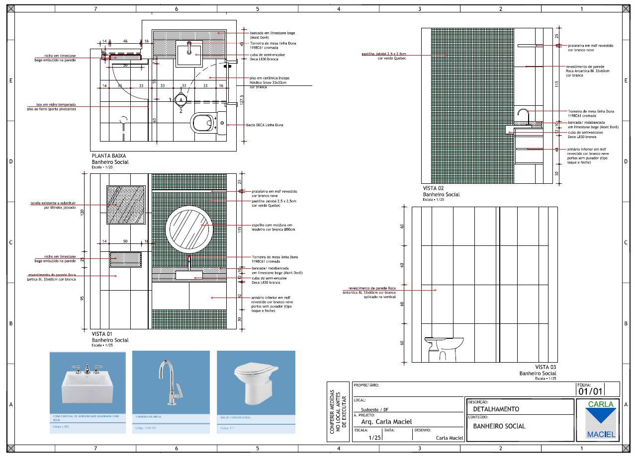 Arquitrecos: Apresentação de Projeto Detalhamento de Banheiro #0F62B9 1279 924
