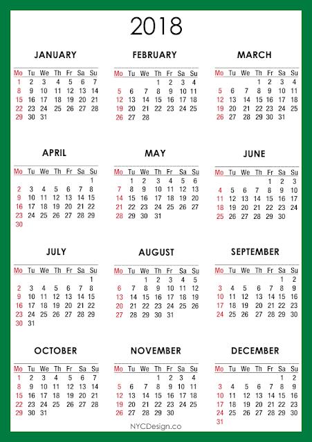 2018 january calendars to print