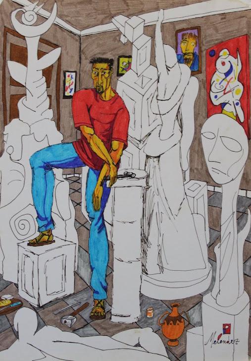 El escultor con sus obras 5-10-95