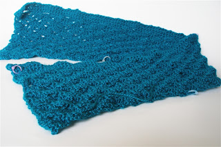 second half - long lacy panel - of teal blue cardigan