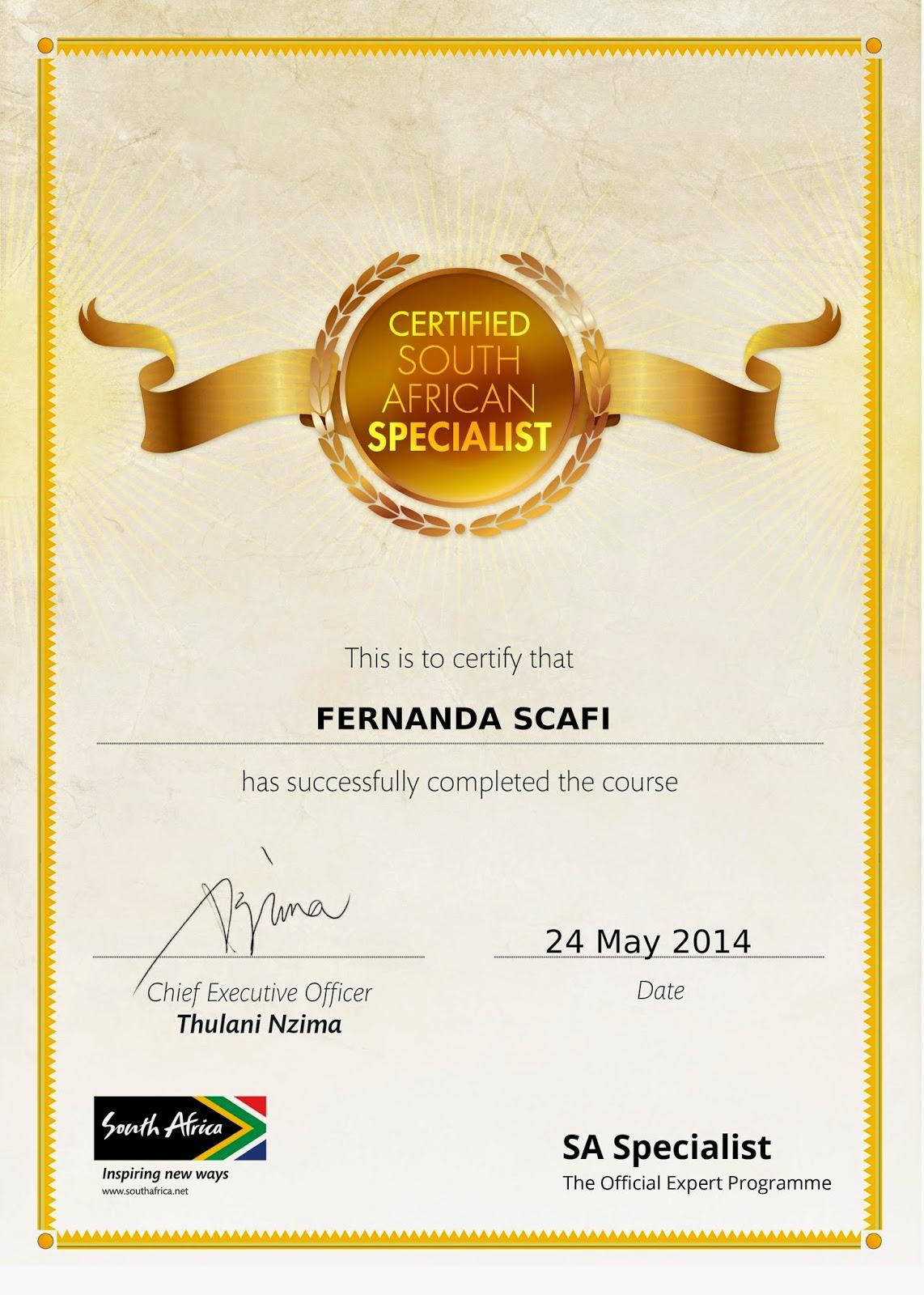 Certificado de Especialista em África do Sul