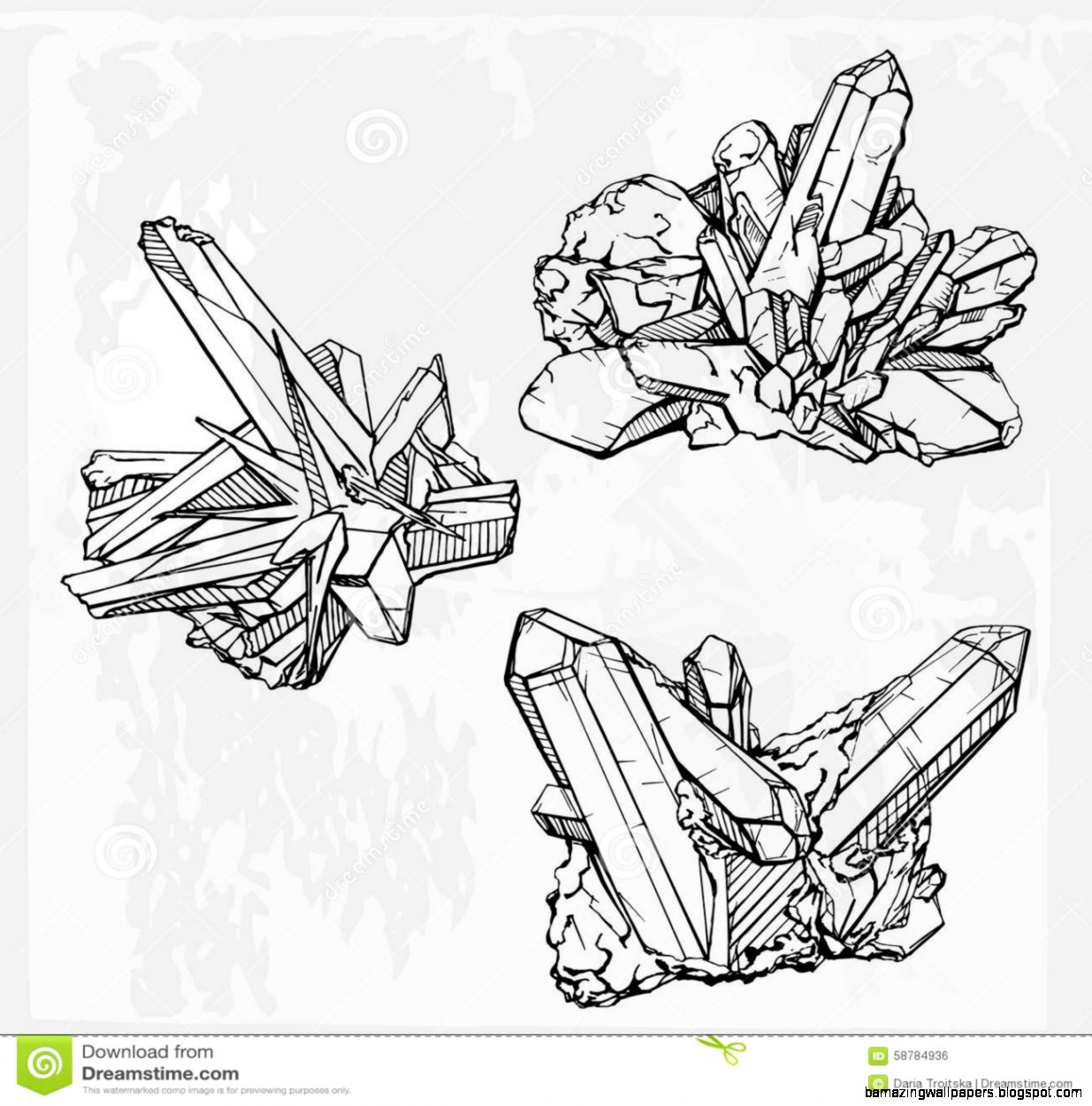 Hand Drawing Crystal Gems Geometric Gemstone Stock Vector   Image