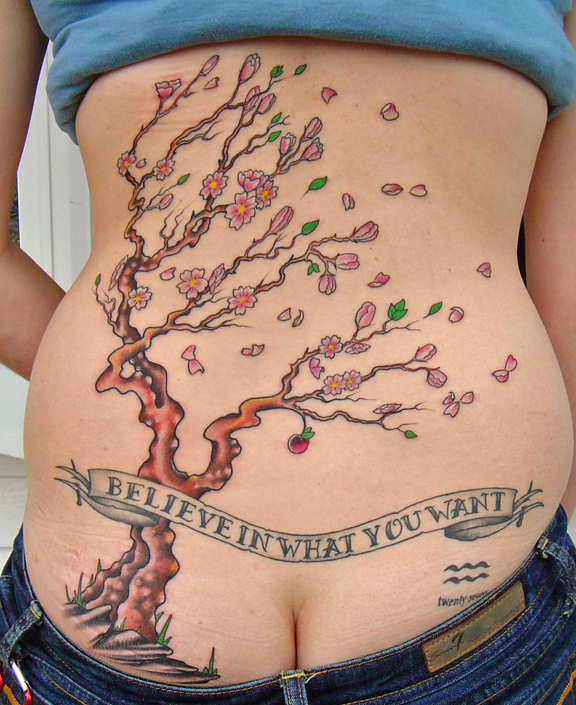 cherry tree tattoo meaning. cherry blossom tree tattoo