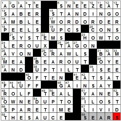 Big Striped Cat Crossword