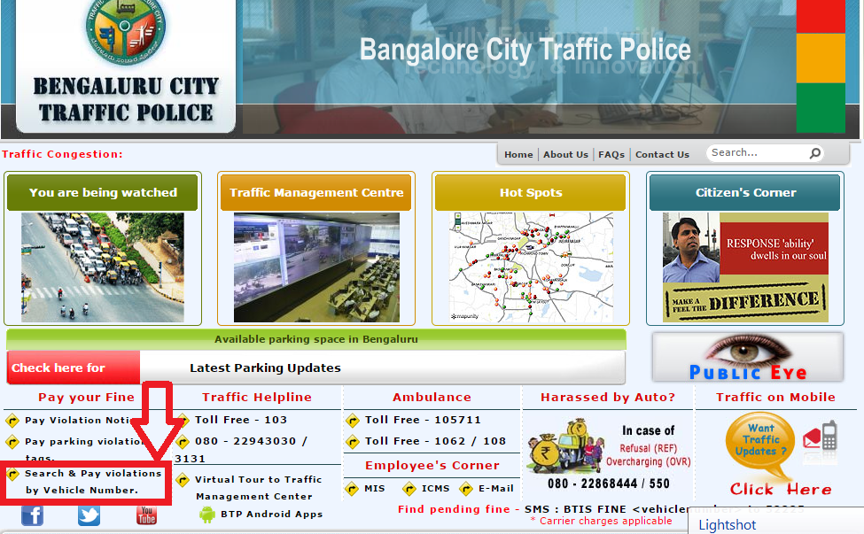 Bangalore Traffic Police Website