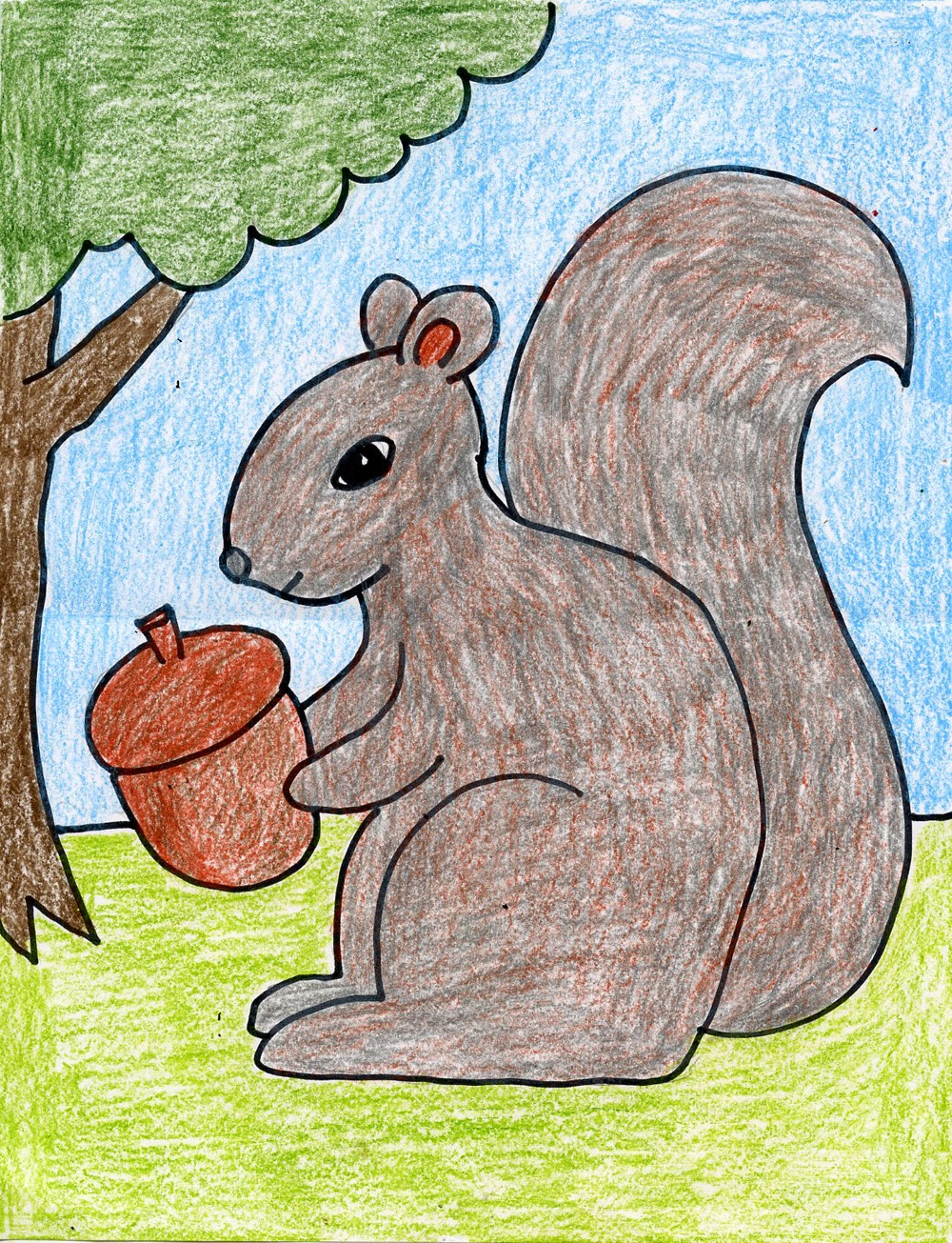 Draw a squirrel art projects for kids Simple drawing ideas for kids