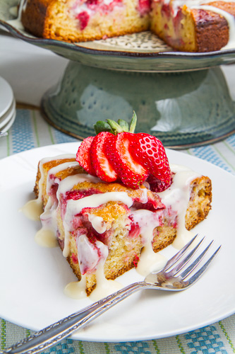 Strawberries and Cream Coffee Cake with Vanilla Cream Cheese Glaze on ...