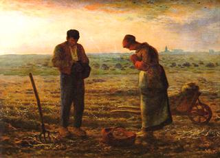 Pintura de Angelus de Millet campesinos