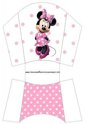 Cajita imprimibles gratis de Minnie Mouse para papas o patatas fritas