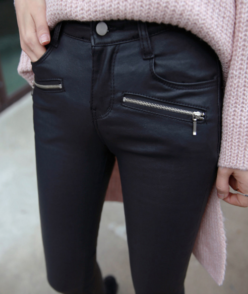 Coated Slim Fit Pants with Zipped Pockets