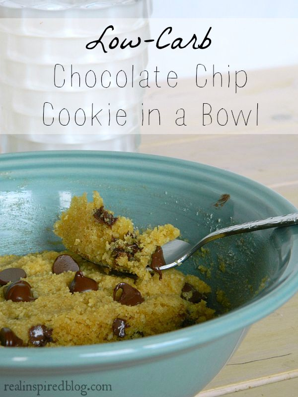 August Review {2015} Low Carb Chocolate Chip Cookie in a bowl