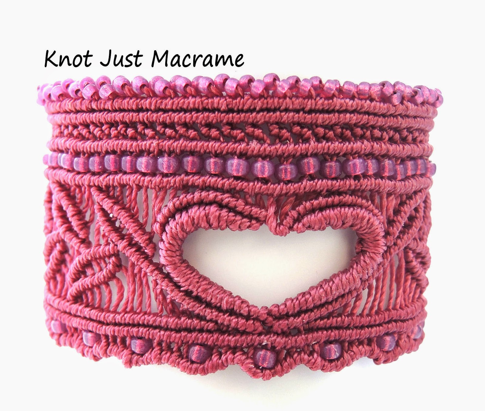 Valentine's Day cuff in micro macrame by Sherri Stokey