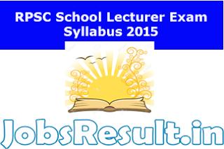 RPSC School Lecturer Exam Syllabus 2015