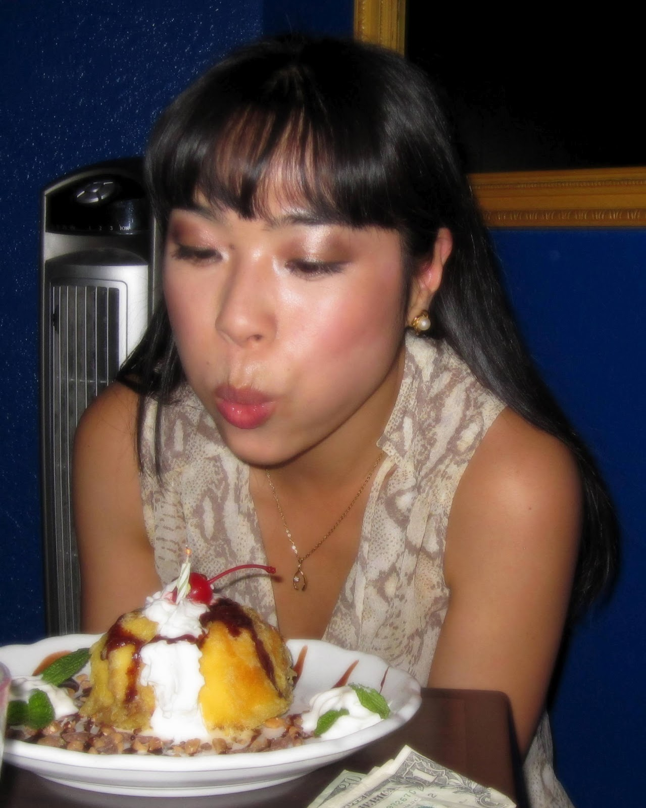 Making a wish on my tempura ice cream dessert!