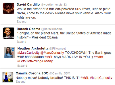 Tweet from President Barack Obama about Mars Curiosity