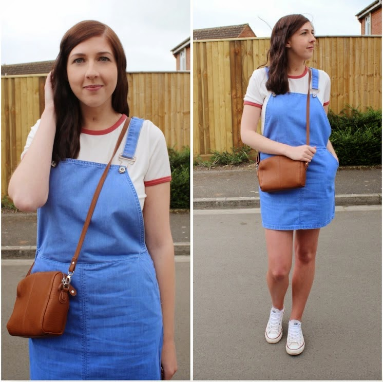 asseenonme, halcyonvelvet, whatimwearing, wiw, ootd, outfitoftheday, lotd, lookoftheday, fbloggers, fblogger, fashion, fashionbloggers, newlook, dungarees, pinaforedress, childsplay, crossbodybag, baseballtee, denim