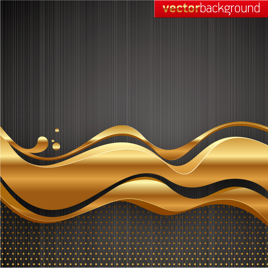 美しく波打つ金色の帯 golden dynamic lines of the background イラスト素材