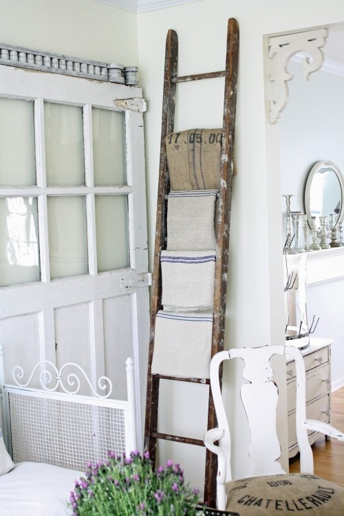 Dishfunctional designs old ladders repurposed as home decor for Repurposed home decorating ideas