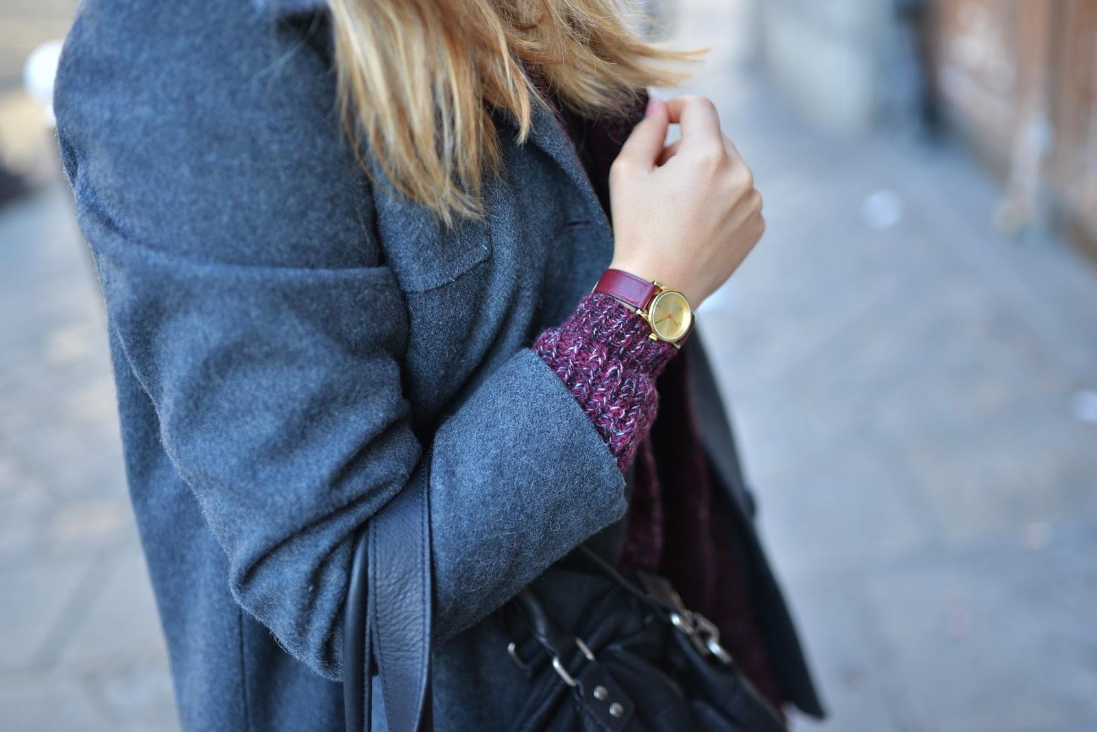 Montre bracelet cuir rouge bordeaux