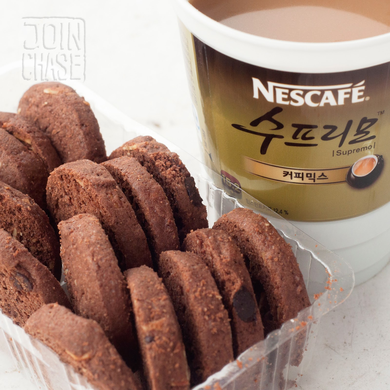 Instant coffee and cookies from a convenience store in South Korea.