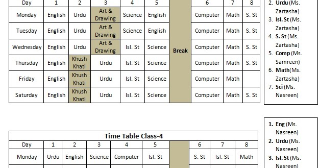 timetable templates for teachers - class wise timetable for schools word template student