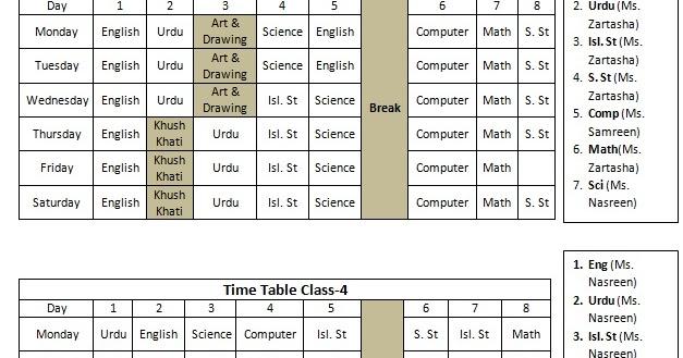 Teacher Timetable Template Vosvetenet – Timetable Template Word