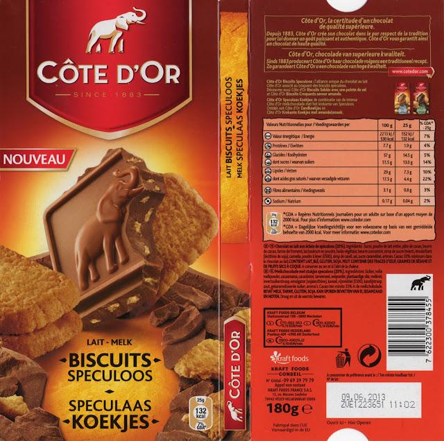 tablette de chocolat lait gourmand côte d'or lait biscuits speculoos