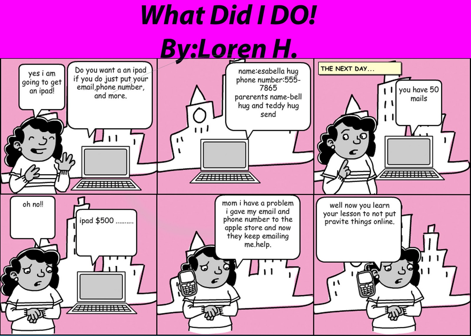 6th Grade Digital Literacy Internet Safety Comic Strips