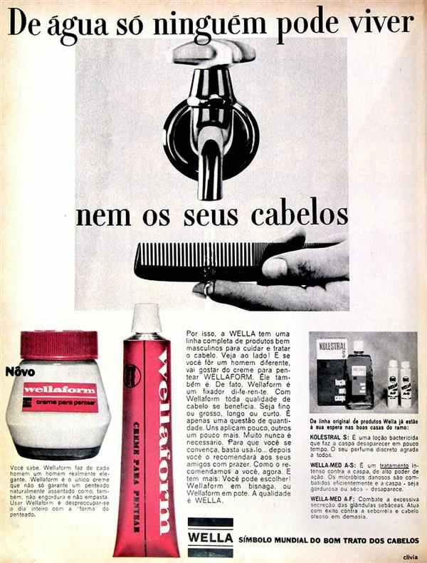 Propaganda da Wella apresentada em 1968 com linha de produtos para homens.