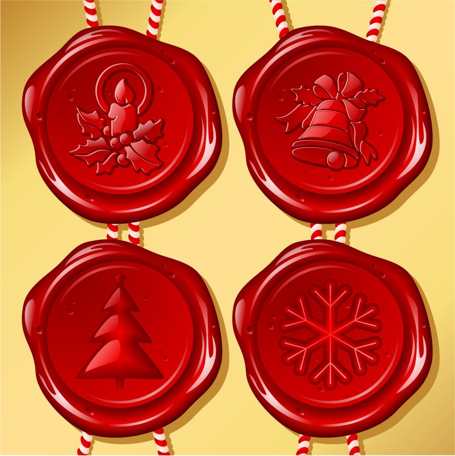 クリスマス飾りのプラスチック シール Christmas plastic seal material イラスト素材