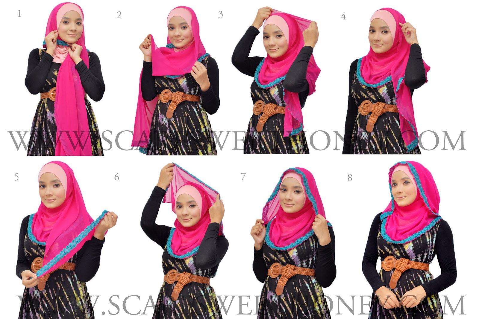 Cara Memakai Shawl AMRAA Style 2 Hooded (Oval Shape