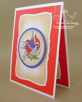 Image of my handmade tattoo art I love you card sitting at a left angle.