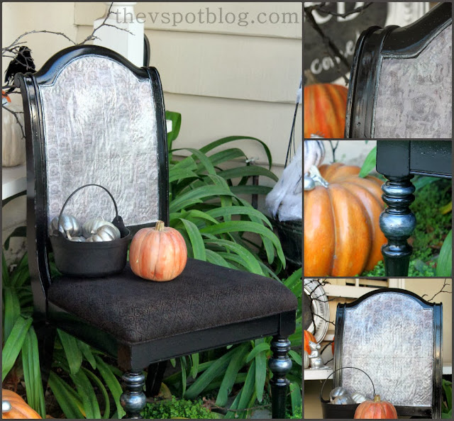 Halloween mod podge chair, chair upcycle
