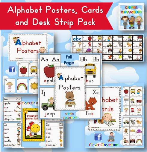 Alphabet Cards, Posters and Desk Strips BUNDLE that all co-ordinate