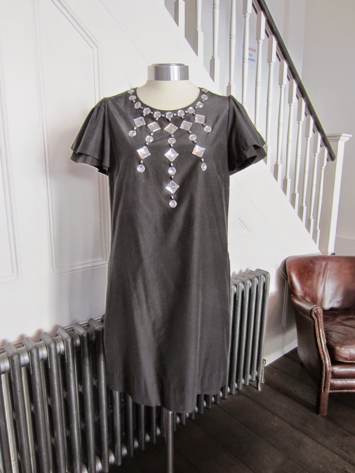 By Malene Birger Black Dress with Beaded Neckline