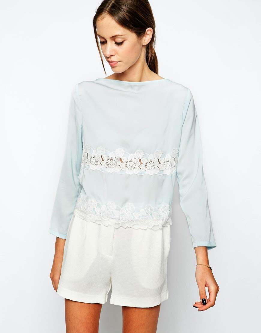 pale blue lace top