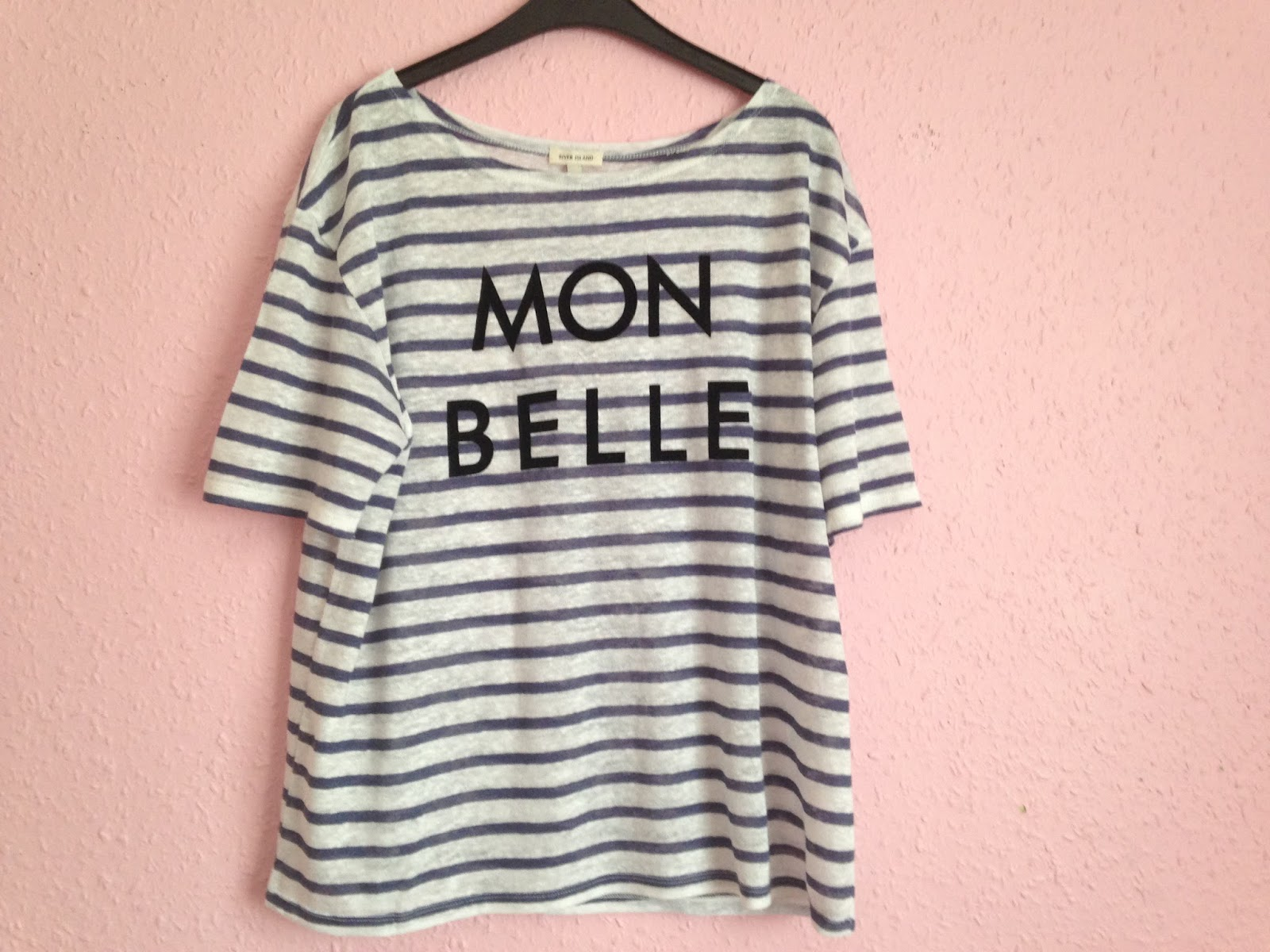 River Island Blue Stripe Mon Belle Linen T-Shirt