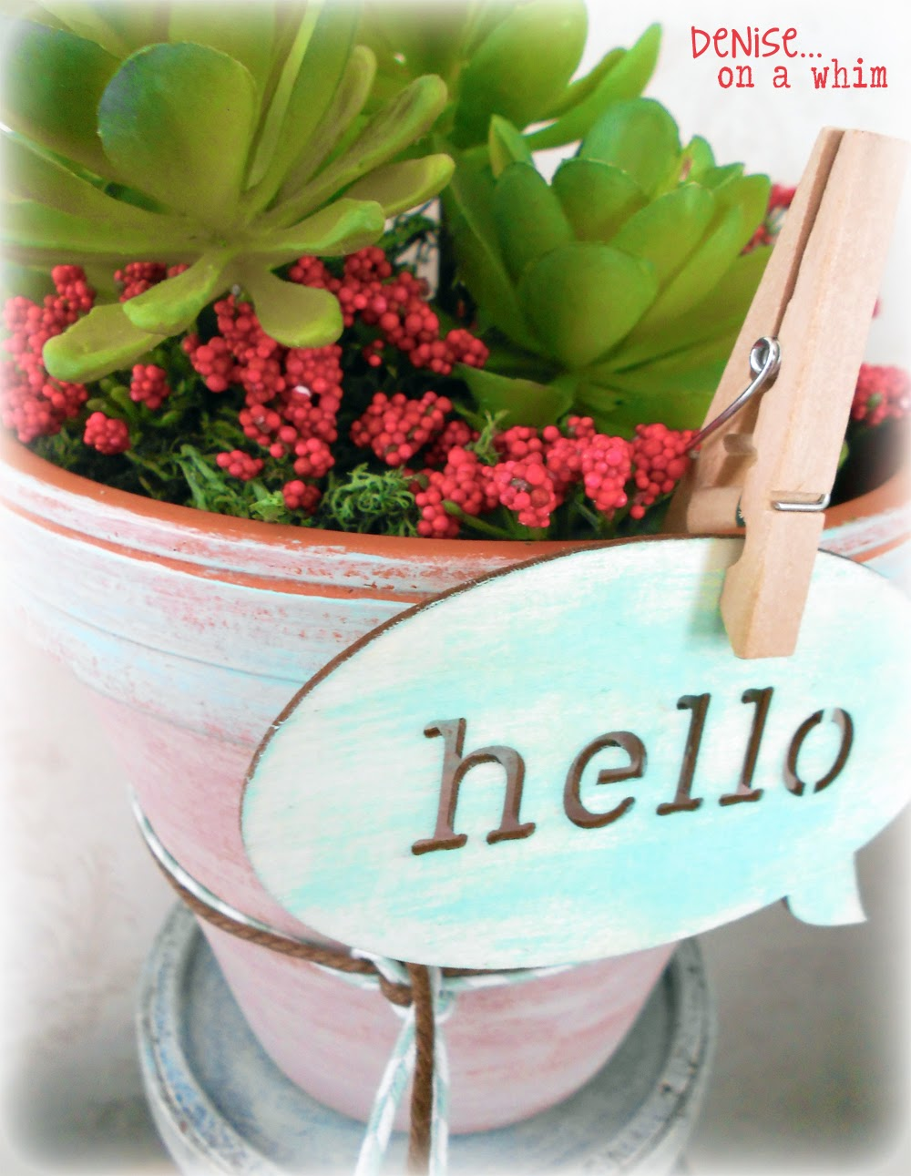 Hello Spring Wooden Tag on a Painted Pot via http://deniseonawhim.blogspot.com