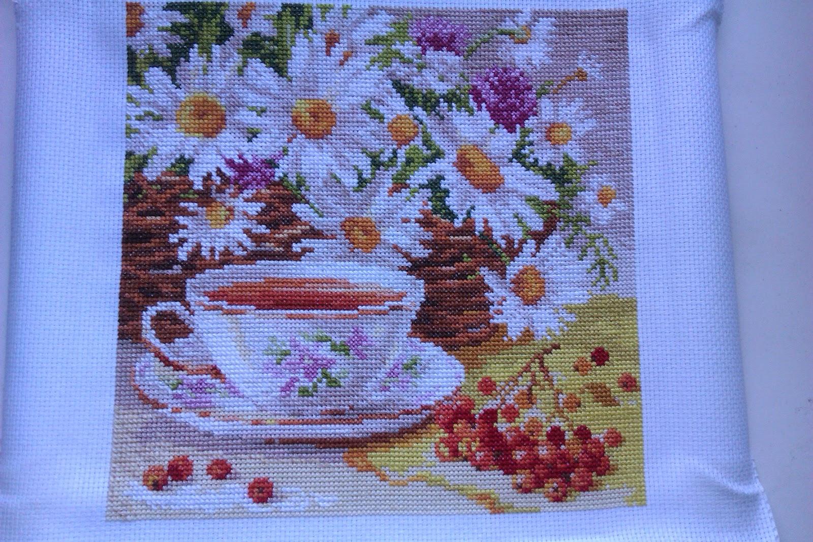 Вышивка утренний чай 64