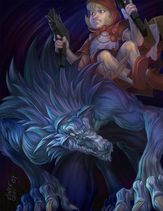 illustration de Vince Chui représentant le petit chaperon rouge avec 2 Uzis sur le dos d'un loup