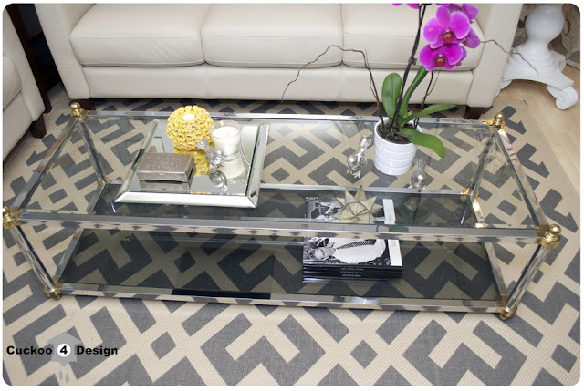 chrome and brass coffee table with grey glass